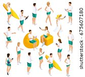 a set of people's isometrics... | Shutterstock .eps vector #675607180