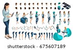 isometric set of gestures of... | Shutterstock .eps vector #675607189