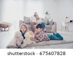 leisure together. happy family... | Shutterstock . vector #675607828