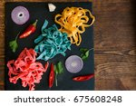 creative colourful fettuccine...