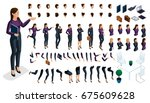 large isometric set of gestures ... | Shutterstock .eps vector #675609628
