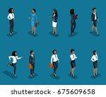 isometrics set of women of...   Shutterstock .eps vector #675609658