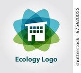 eco house logo abstract design... | Shutterstock .eps vector #675620023