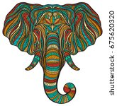 stylized ethnic boho elephant... | Shutterstock .eps vector #675620320