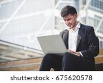 young caucasian businessman... | Shutterstock . vector #675620578