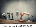 retro old microphones for press ... | Shutterstock . vector #675628699