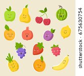 set of colorful cute fruits ... | Shutterstock .eps vector #675630754