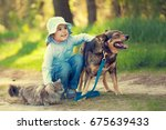 Stock photo happy little girl hugging dog and cat outdoors in forest in summer 675639433