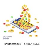 isometric concept with mobile... | Shutterstock .eps vector #675647668