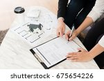 high angle view photo of buyer...   Shutterstock . vector #675654226