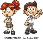 cartoon kids in uniform. vector ... | Shutterstock .eps vector #675669109