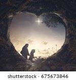 nativity christmas concept ... | Shutterstock . vector #675673846