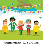 group of children having fun at ... | Shutterstock .eps vector #675678628