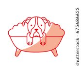 cute dog bathing in the tub | Shutterstock .eps vector #675686623