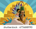aztec great emperor priest near ... | Shutterstock .eps vector #675688990