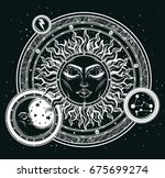 vintage hand drawn sun  moon ... | Shutterstock .eps vector #675699274