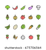 vegetables food color thin line ... | Shutterstock .eps vector #675706564