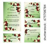 set of wedding invitation... | Shutterstock .eps vector #675708784