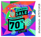 summer sale geometric style web ... | Shutterstock .eps vector #675711418