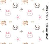seamless pattern of cute... | Shutterstock .eps vector #675715804