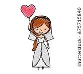 cute wife with shaped heart... | Shutterstock .eps vector #675715840