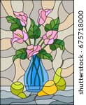 illustration in stained glass... | Shutterstock .eps vector #675718000