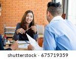 asian female business leader...   Shutterstock . vector #675719359