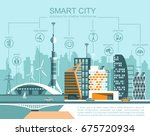 smart city flat. cityscape... | Shutterstock .eps vector #675720934