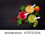 fresh healthy smoothies from... | Shutterstock . vector #675721516