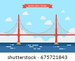 golden gate bridge in flat... | Shutterstock .eps vector #675721843