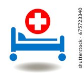 hospital bed red cross vector... | Shutterstock .eps vector #675723340