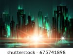 night city background with... | Shutterstock . vector #675741898