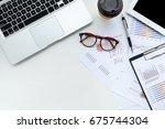modern white office desk table... | Shutterstock . vector #675744304