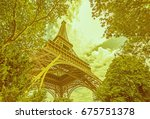view on eiffel tower from... | Shutterstock . vector #675751378