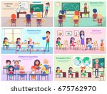 kids study language  draw at... | Shutterstock .eps vector #675762970