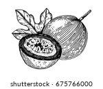 passion fruit raster... | Shutterstock . vector #675766000