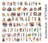 set of happy family  people ... | Shutterstock .eps vector #675776824