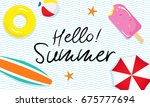 hello  summer banner vector...   Shutterstock .eps vector #675777694