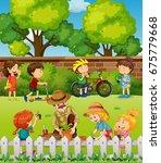 many children having fun in... | Shutterstock .eps vector #675779668