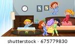 many children playing in... | Shutterstock .eps vector #675779830
