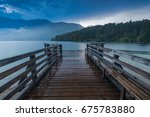 Wooden Pier At Lake Bohinj ...