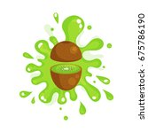 sliced kiwi juice splashing ... | Shutterstock .eps vector #675786190