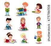 cute smart kids reading books... | Shutterstock .eps vector #675786508