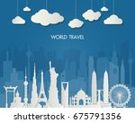 world famous landmark. global... | Shutterstock .eps vector #675791356