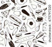 raster copy. doodle seamless... | Shutterstock . vector #675797320
