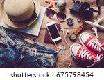 travel accessories costumes.... | Shutterstock . vector #675798454