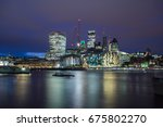 london skyline at dusk with its ... | Shutterstock . vector #675802270