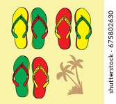 colorful flip flop hand drawing ... | Shutterstock .eps vector #675802630