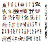 set of happy family  people ... | Shutterstock .eps vector #675810628