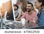 start up people working on... | Shutterstock . vector #675812920